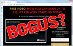 """screen print of 24-7 Wealth Club website with """"BOGUS?"""" over top"""