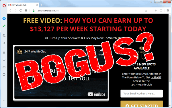 "screen print of 24-7 Wealth Club website with ""BOGUS?"" over top"