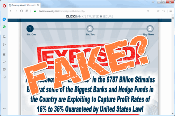 "screen print of Create Wealth Withtout Risk website with ""Fake?"" over top"