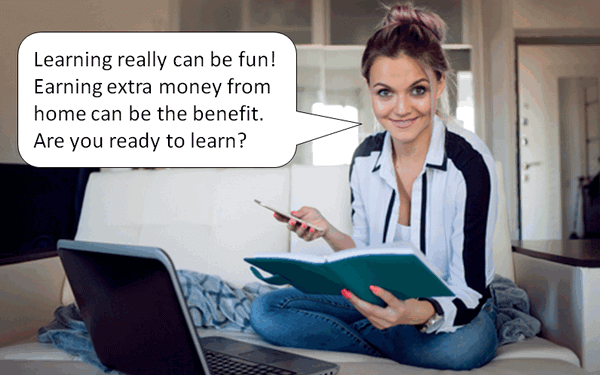 "image of a woman sitting on a sofa with computer and cell phone, asking you ""are you ready to learn?"""