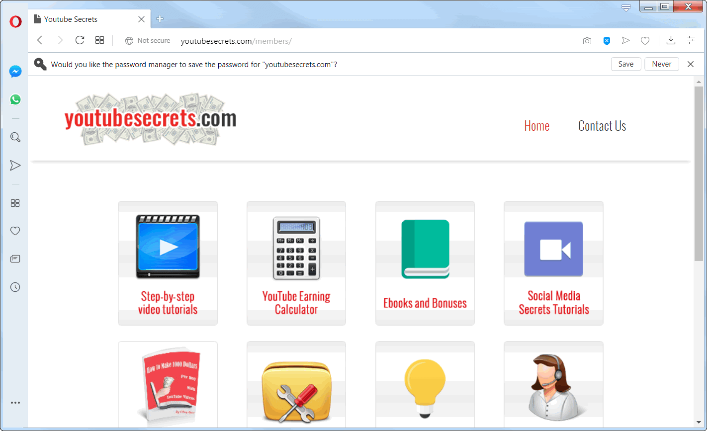 screen print of YouTubeSecrets.com's membership web page