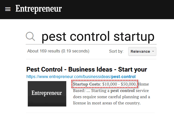 screen print of Entrepreneur's website stating the startup costs as $10,000 - $50,000.