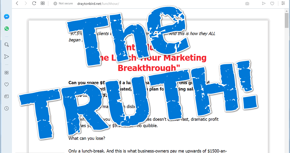 screen print of the Lunch-Hour Marketing Breakthrough website with