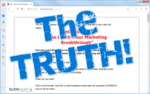 "screen print of the Lunch-Hour Marketing Breakthrough website with ""The Truth!"" on top"