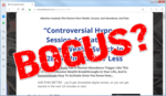 """screen print of the Wealth Switch's website with """"Bogus?"""" overtop"""