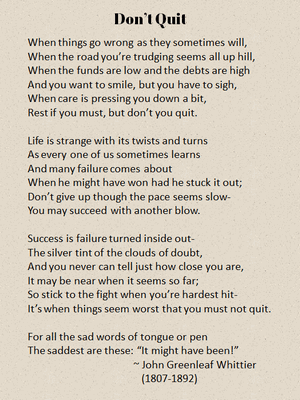 Don't Quit poem by John Greenleaf Whittier