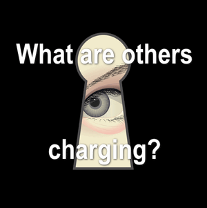 "eye looking throug a keyhole with text over top stating,""What are others charging?"""