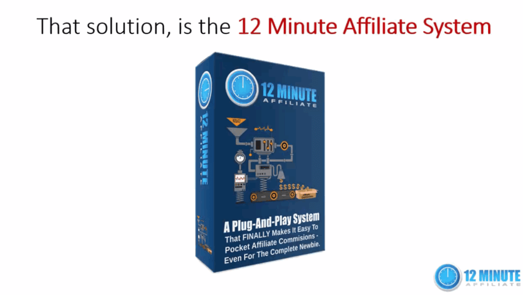 screen print of 12 Minute Affiliate from the landing page video