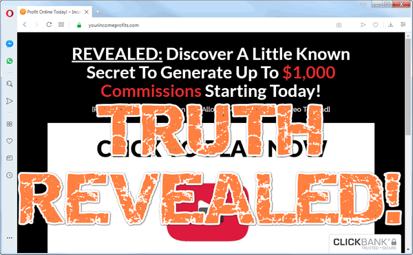 "screen print of Your Income Profits website with ""Truth Revealed!"" on top"