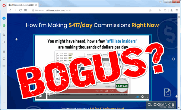 "screen print of the Affiliate Bots 2.0 website with ""BOGUS?"" on top"