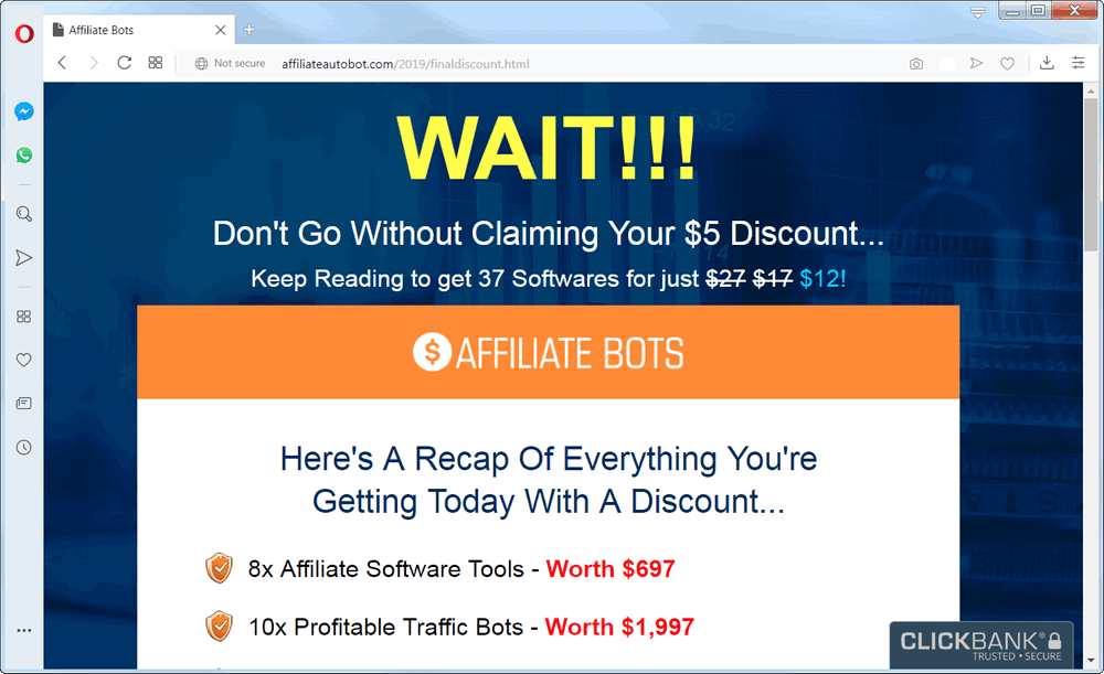 screen print of Affiliate Bot 2.0 website if you try to leave