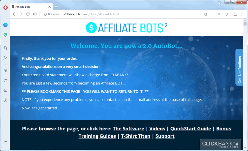 screen print of the Affiliate Bot 2.0 product web page