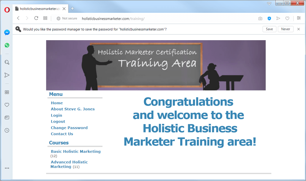 Holistic Business Marketer's membership page