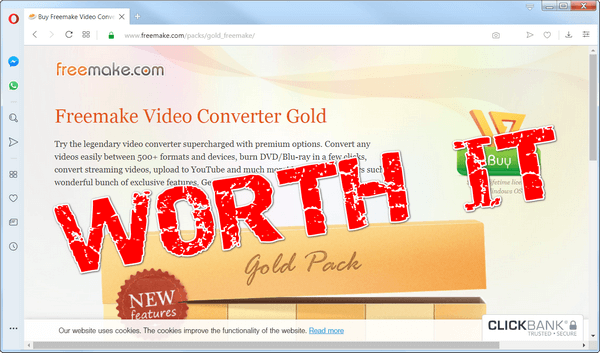 "screen print of Freemake Video Converter website with ""Worth it?"" over top"