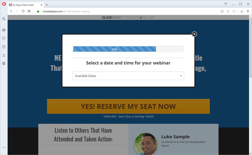 "screen print of website their website when you click the ""Yes! Reserve My Seat Now"" button"