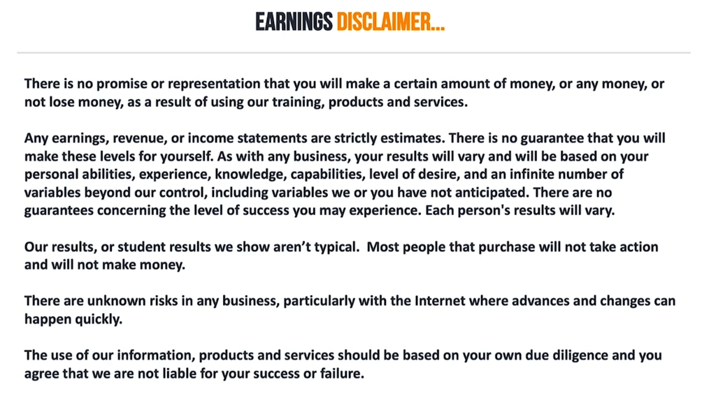 Luke's legal disclaimer for his webinar