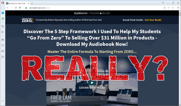 "screen print of Starting From Zero's website with ""Really?"" printed over top"