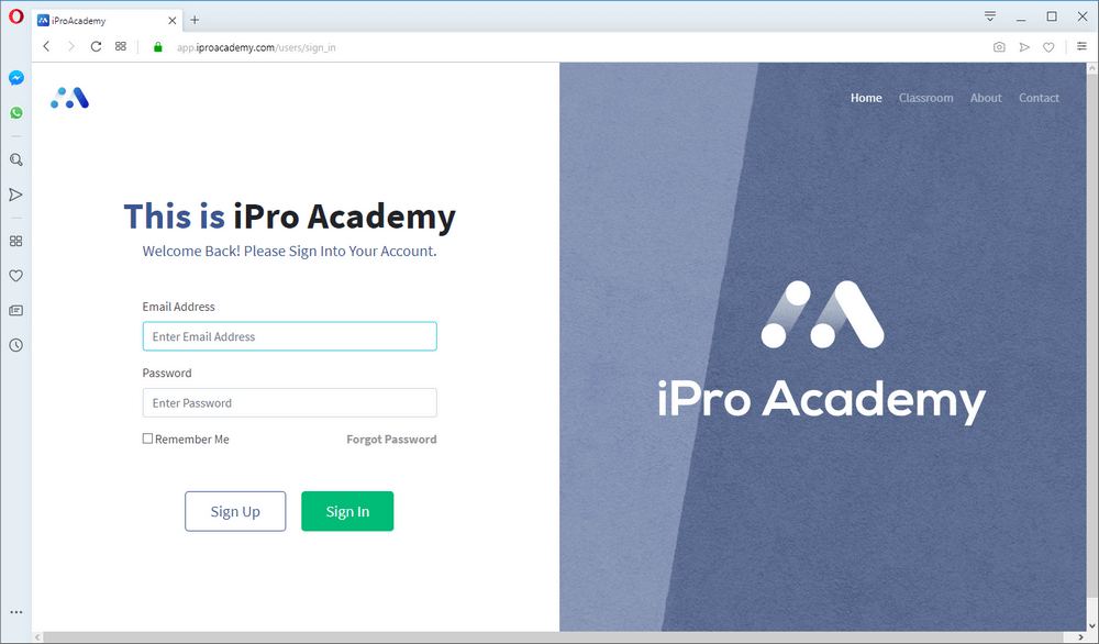 screen print of Starting From Zero's login