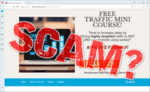 """screen print of the Free Traffic Mini Course website with, """"SCAM?"""" overtop"""