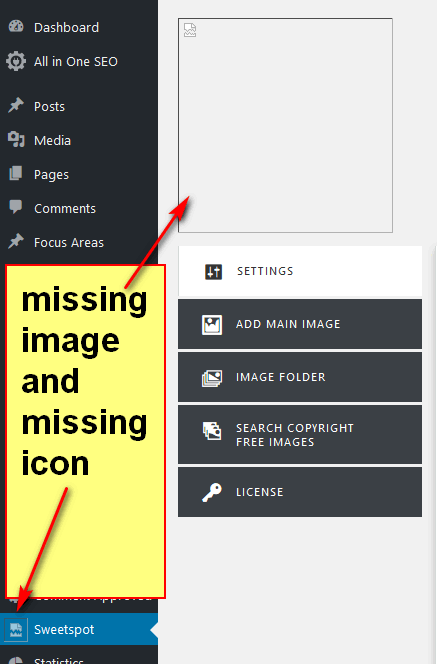 screen print of missing image and icon inside my WordPress Dashboard