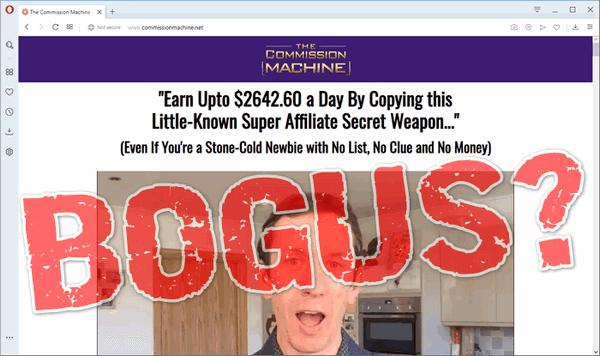 """screen print of vendor's website with """"BOGUS?"""" overtop"""