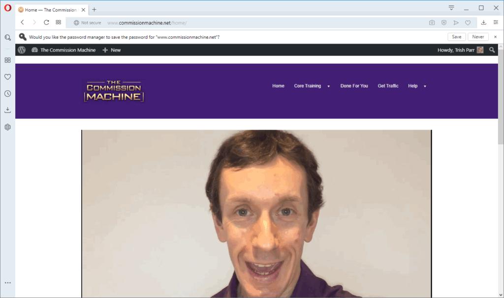 screen print of venfor's membership page