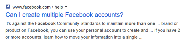"""screen print of Facebook's snippet answering """"can I create multiple Facebook accounts?"""""""
