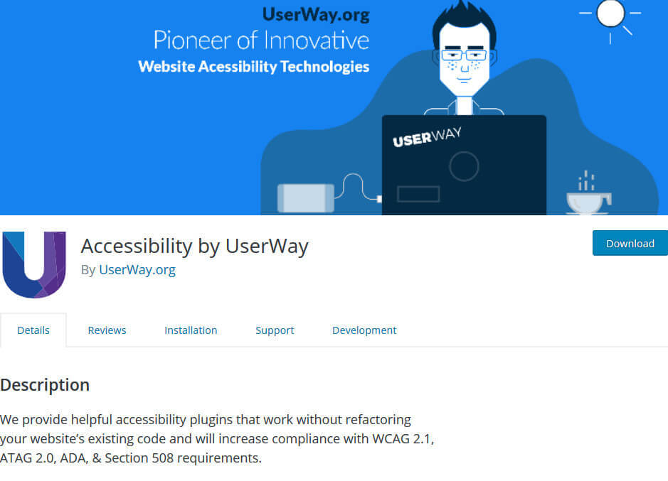 screen print of Accessibility by UserWay plugin
