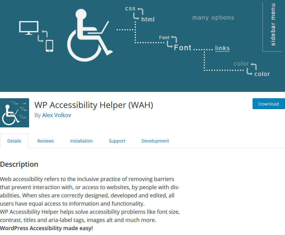screen print of WP Accessibility Helper (WAH) plugin