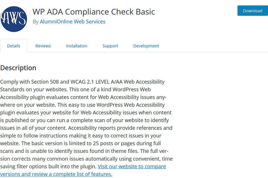 screen print of WP ADA Compliance Check Basic plugin