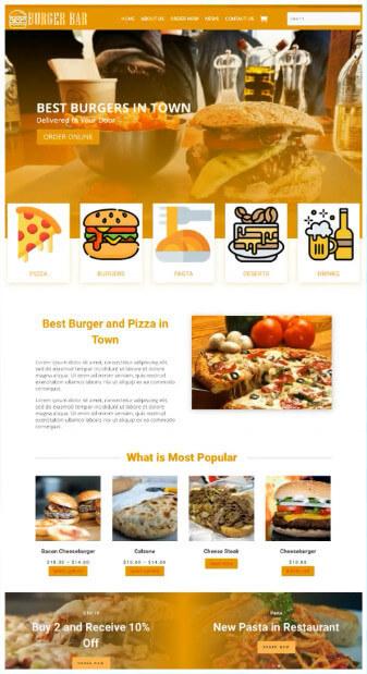 screen print of restaurant website