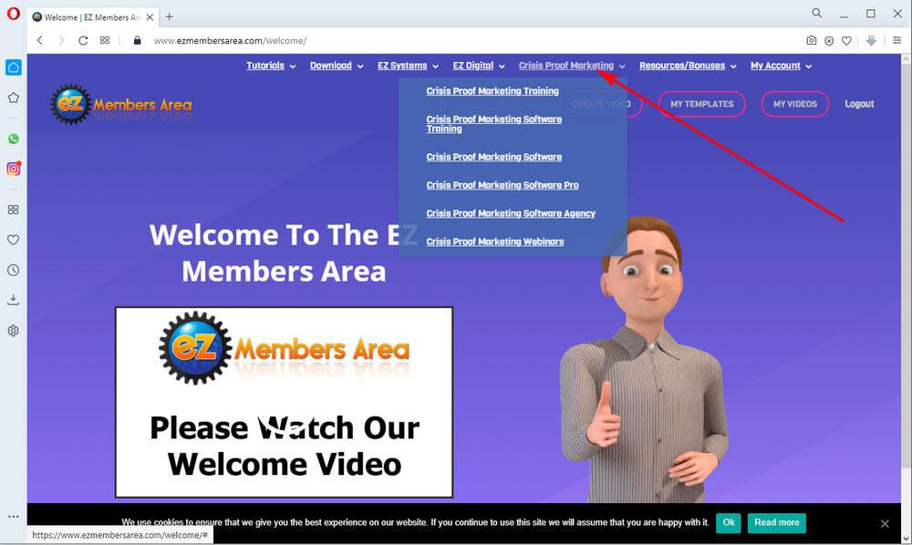 screen print of vendor's membership site