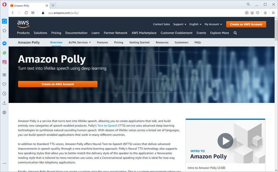 screen print of Amazon's voiceover site