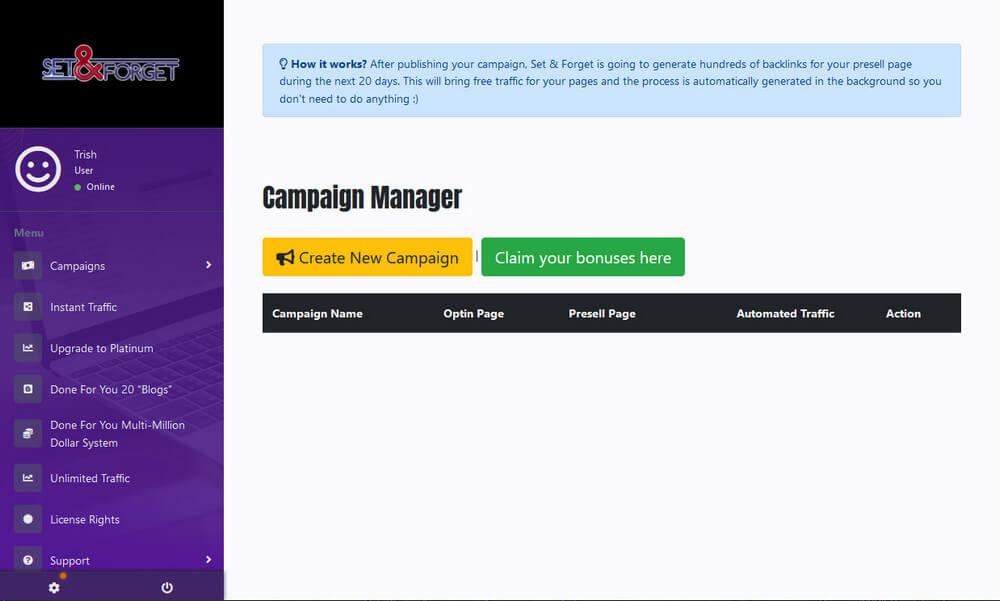 screen print of membership dashboard