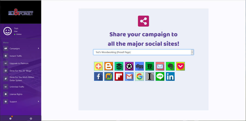 screen print of the many icons providing links for members to use in sharing on social media
