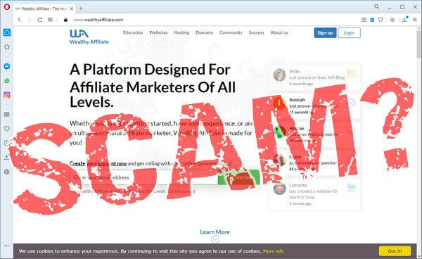"screen print of Wealthy Affiliate landing page with ""SCAM?"" overtop"