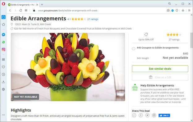 screen print of groupon.com displaying a fruit bouquet that is available