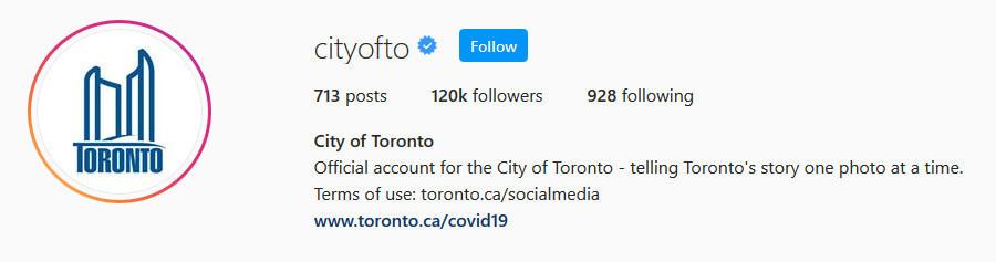 screen print of City of Toronto's Instagram profile