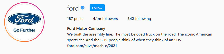 screen print of Ford Motor Company's Instagram profile