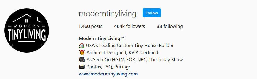 screen print of Modern Tiny Living's Instagram profile