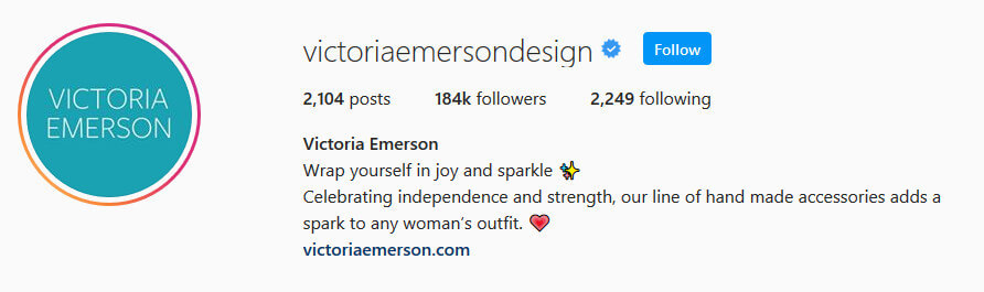 screen print of Victoria Emerson's Instagram profile