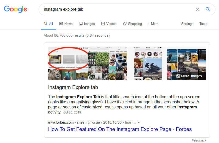 screen print of Google search