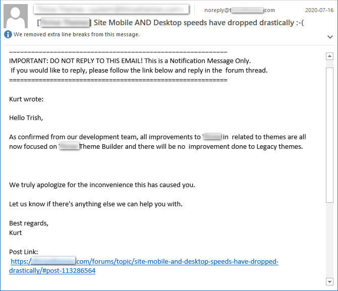 screen print of an email informing me that the developers are ignoring their premium themes