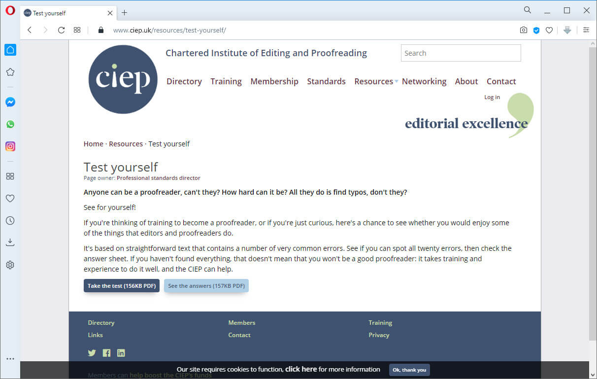 screen print of ciep.com web page, test yourself for proofreader skills