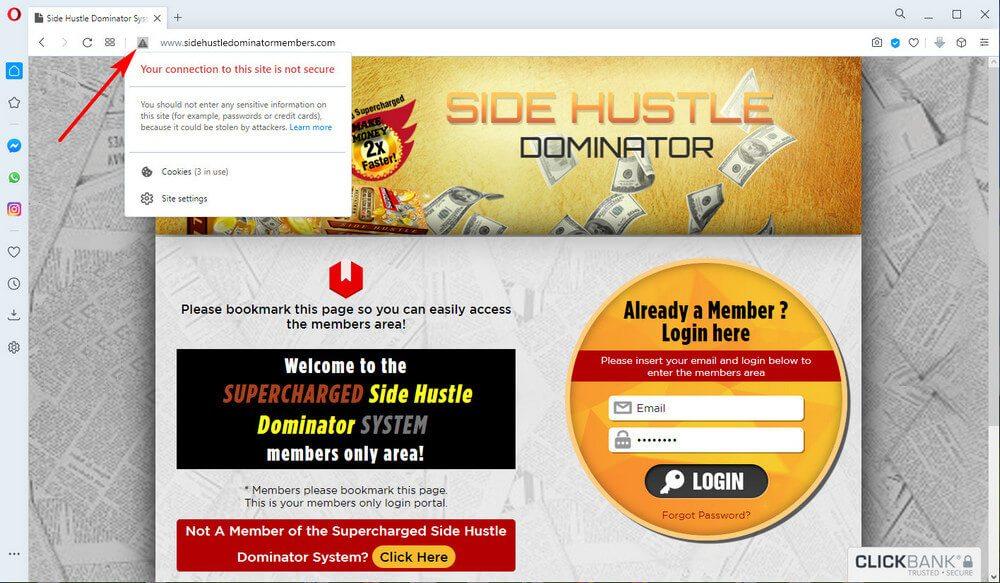 screen print of member's area of vendor's website