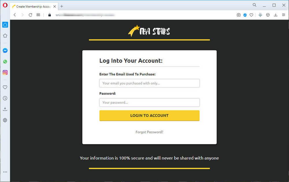 screen print of membership login