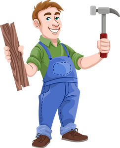 cartoon of man holding hammer in one hand and lumber in ther other