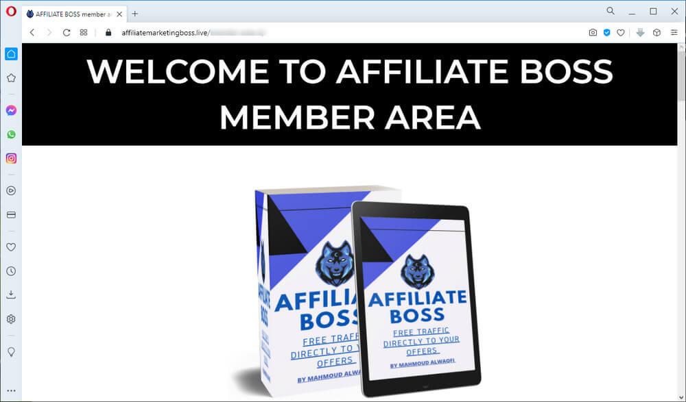 screen print of vendor's memebers area