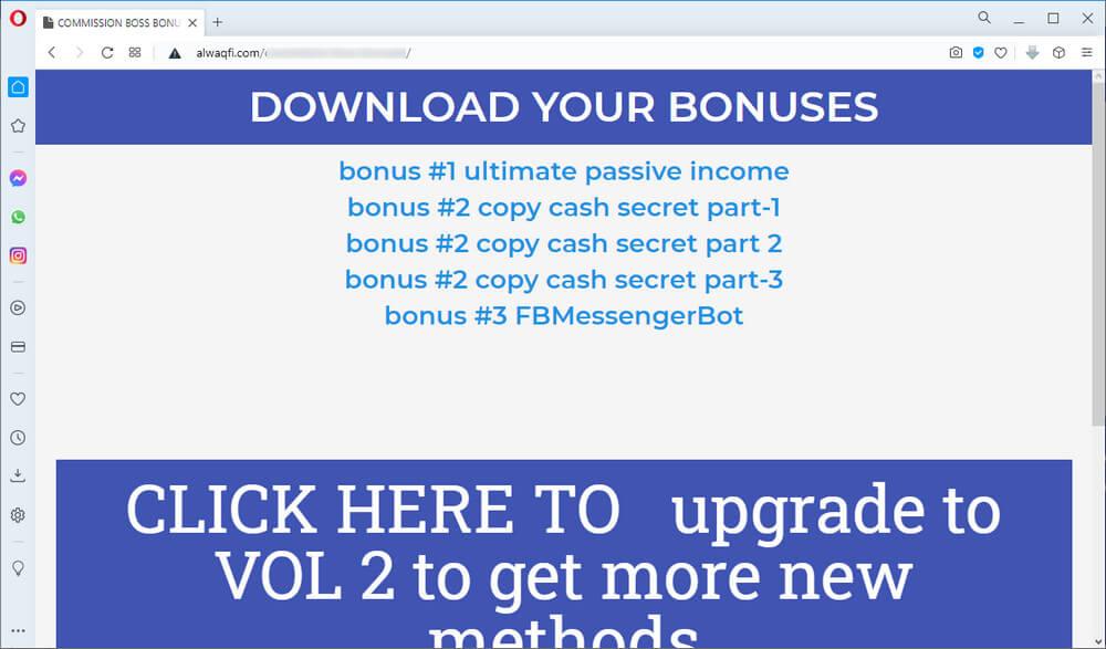 screen print of vendor's bonuses download web page