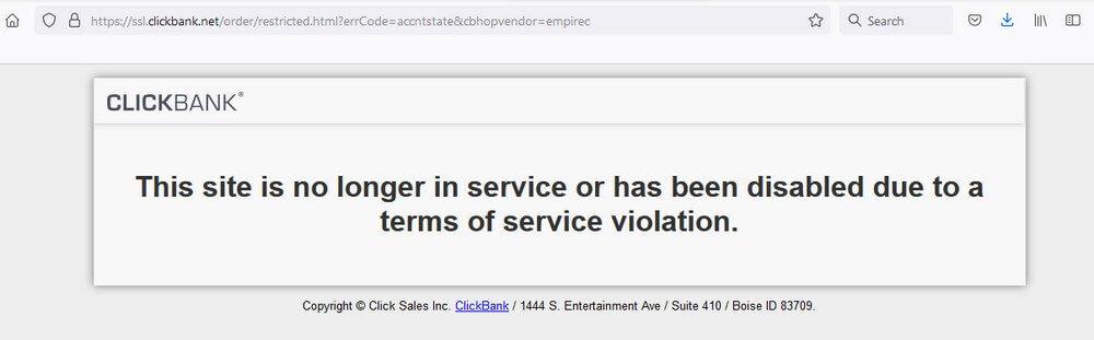 screen print of a Clickbank prompt